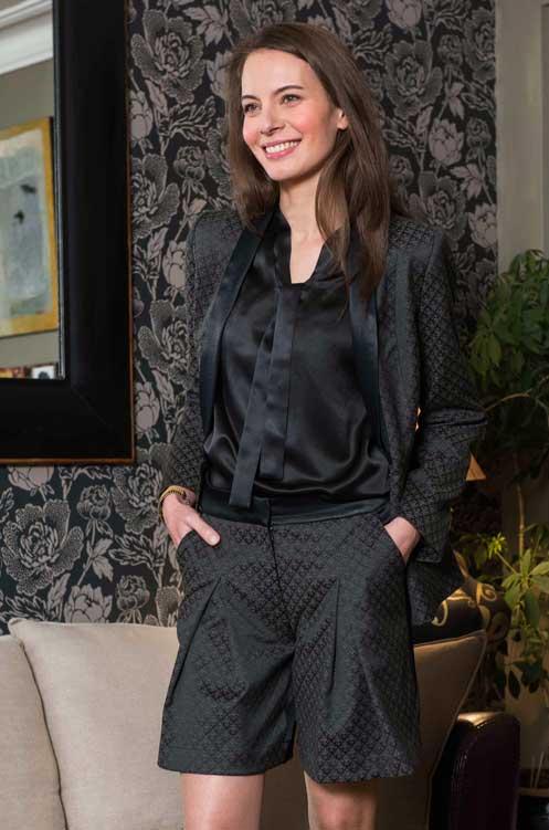 Veste Tailleur Femme Coton fleurs Chic Bureau Diner Cérémonie Créateur SOLENE MARTIN